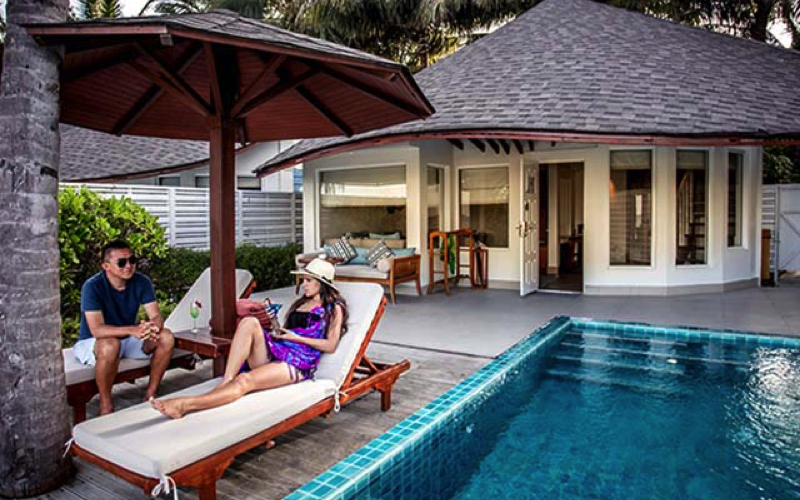 Beach villa with pool at Centara Grand, Maldives