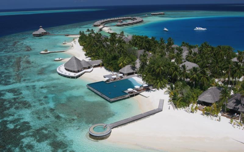 aerial view of Huvafen Fushi by Per Aquum, Maldives