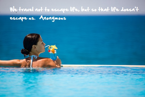 Inspirational travel quotes, lady in pool