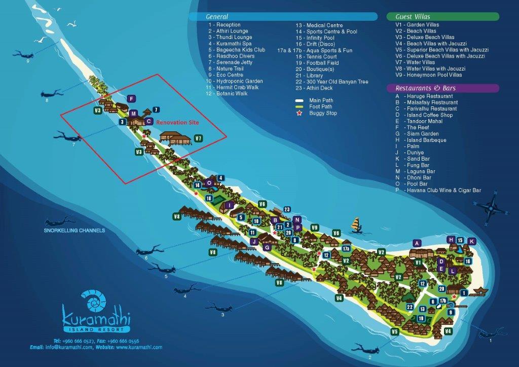 Kuramathi Island Resort Map Renovation 2015 Mainly Maldives
