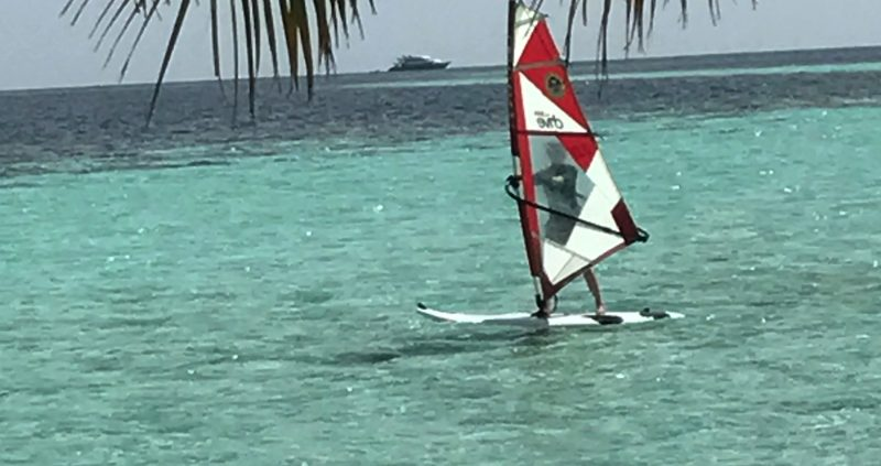 Wind-surfing at Vilamendhoo Island Resort