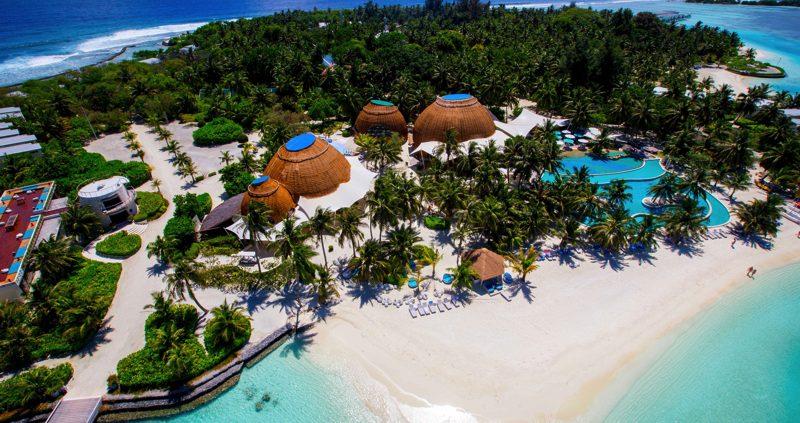 Aerial view of Six Senses Laamu Maldives