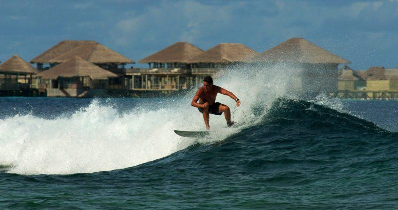 Surfing at Six Senses Laamu Maldives