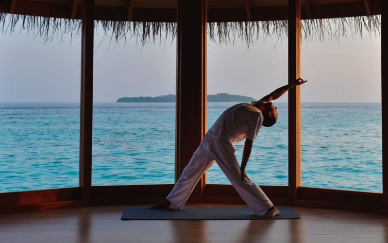 over-water yoga pavilion, Milaidhoo Island resort