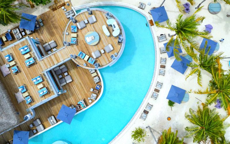Finolhu Island Resort, aerial view of pool