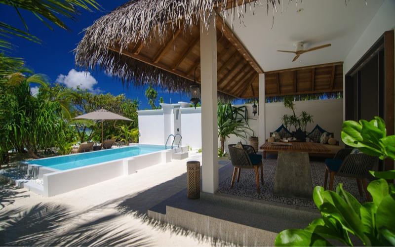 Finolhu Island Resort beach villa with pool