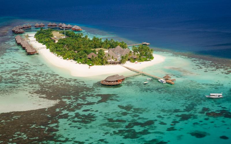 aerial view of Mirihi Island Resort