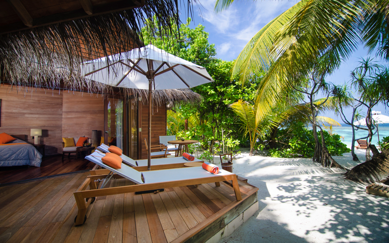 beach villa on Mirihi Island Resort, Maldives