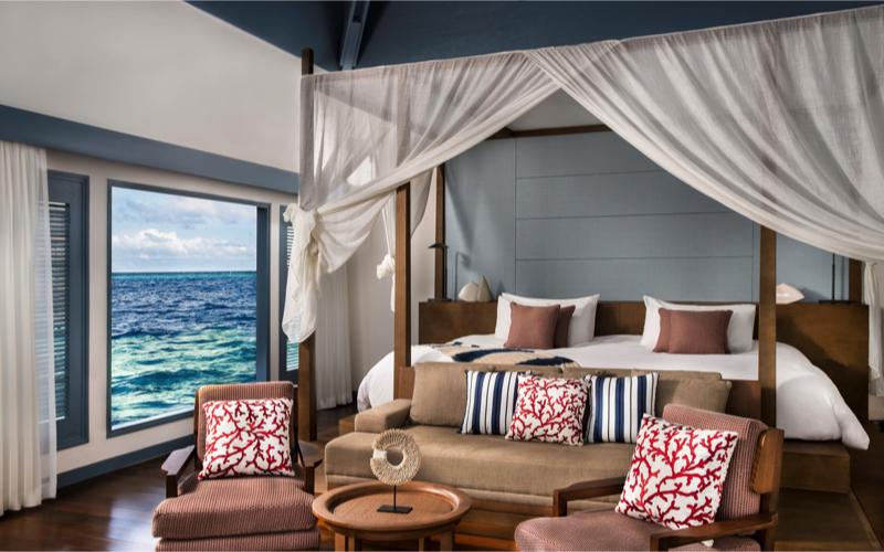 Overwater villa at Raffles Maldives Meradhoo Resort