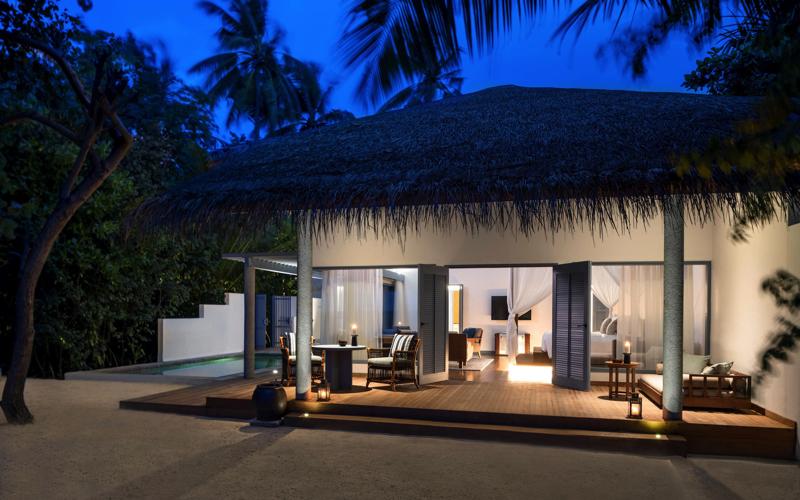 Beach villa at Raffles Maldives Meradhoo Resort