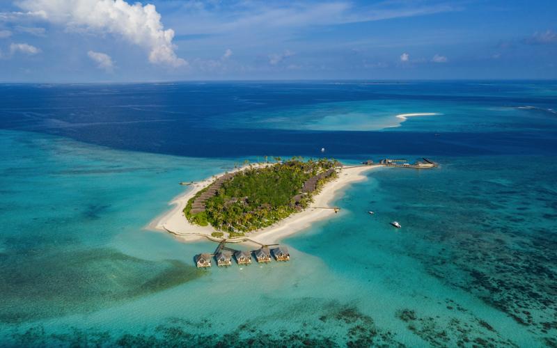 Fushifaru Island resort aerial view