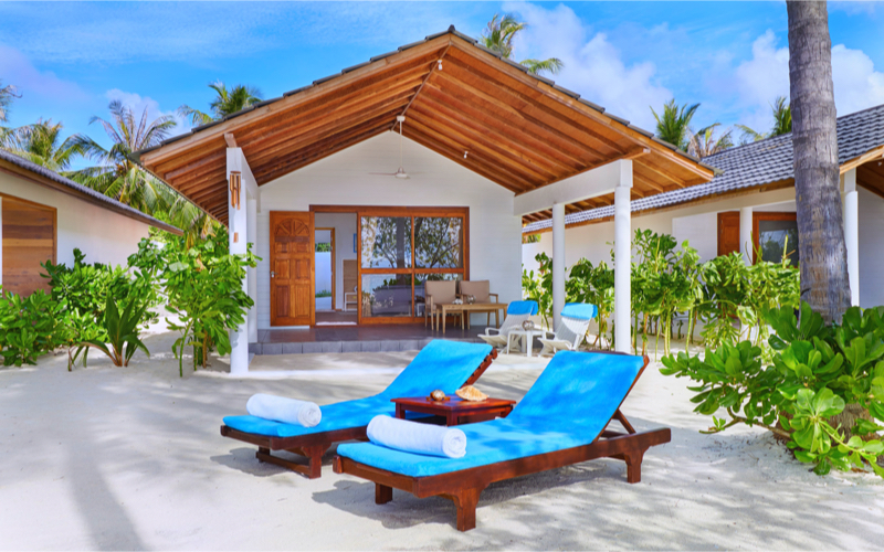 beach villa on Innahura Island Resort, Maldives