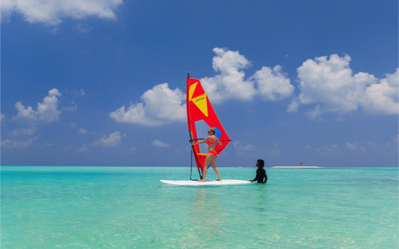Wind-surfing at Innahura Island, Maldives