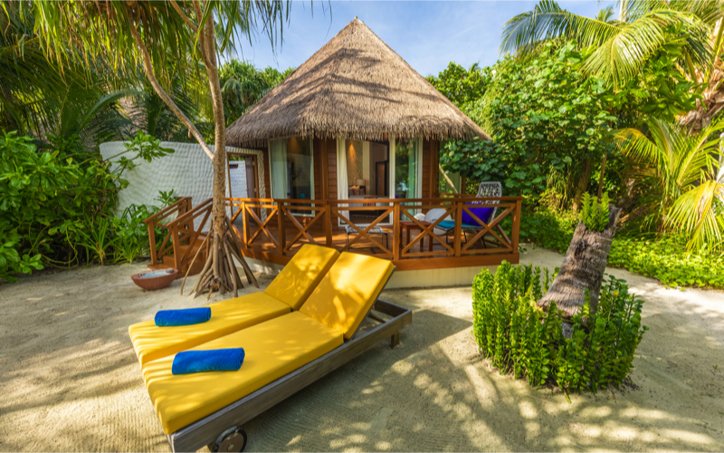 beach villa at Kooddoo Island Resort, Maldives