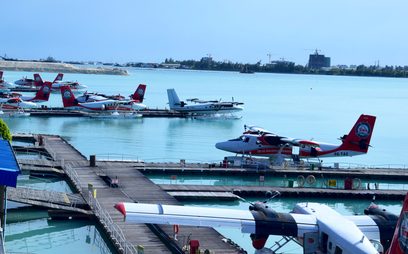 seaplanes waiting in Male