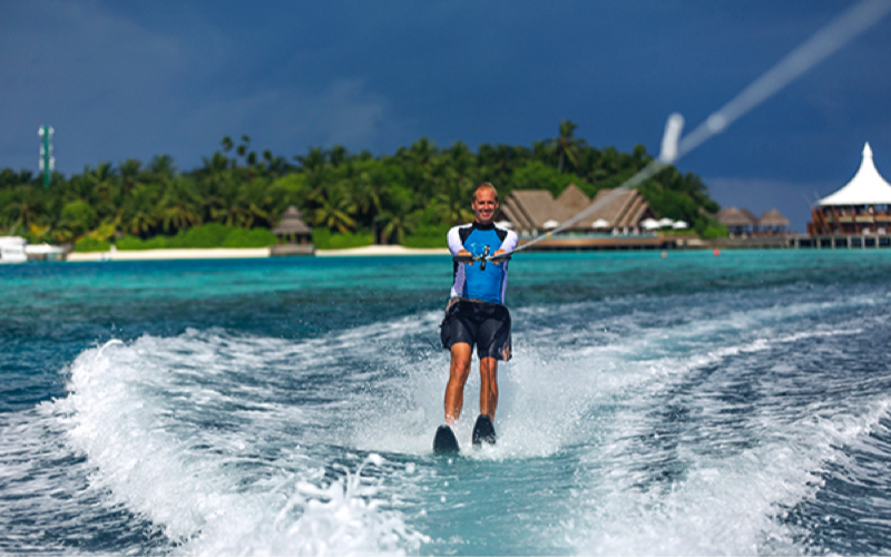Waterskiing at Baros Maldives