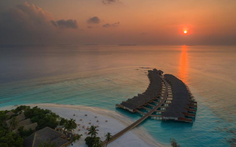 Kudafushi Island Resort at sunset