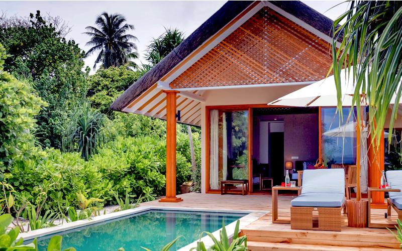 Beach villa with pool on Kudafushi, Maldives