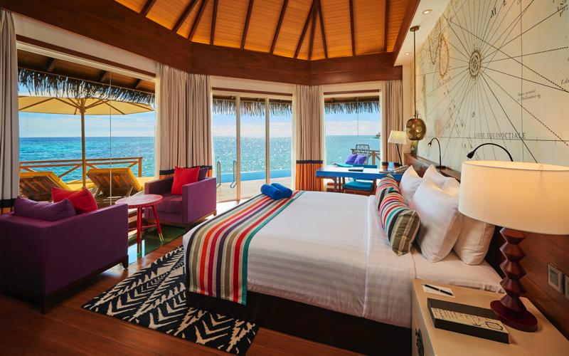 Water Villa interior at Kooddoo Island Resort