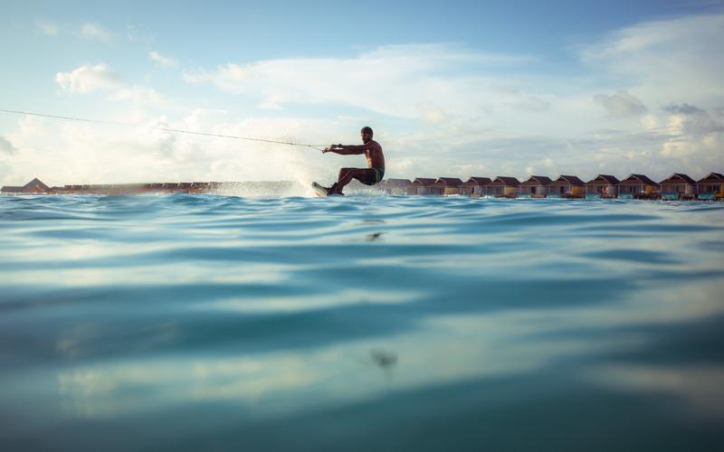 water-skiing at The Standard Huruvalhi Maldives.